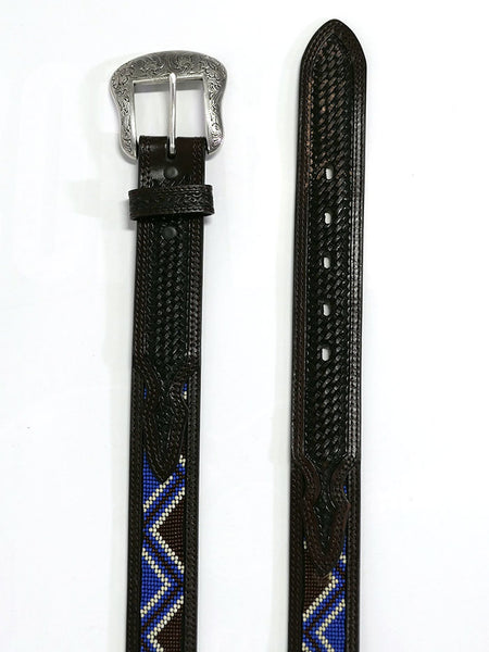 Ranger WB4162 Mens Beaded Inlay Western Belt Dark Brown Top View