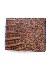 Walletstop 2205 Mens Caiman Bi-Fold Black Wallet Natural Tan