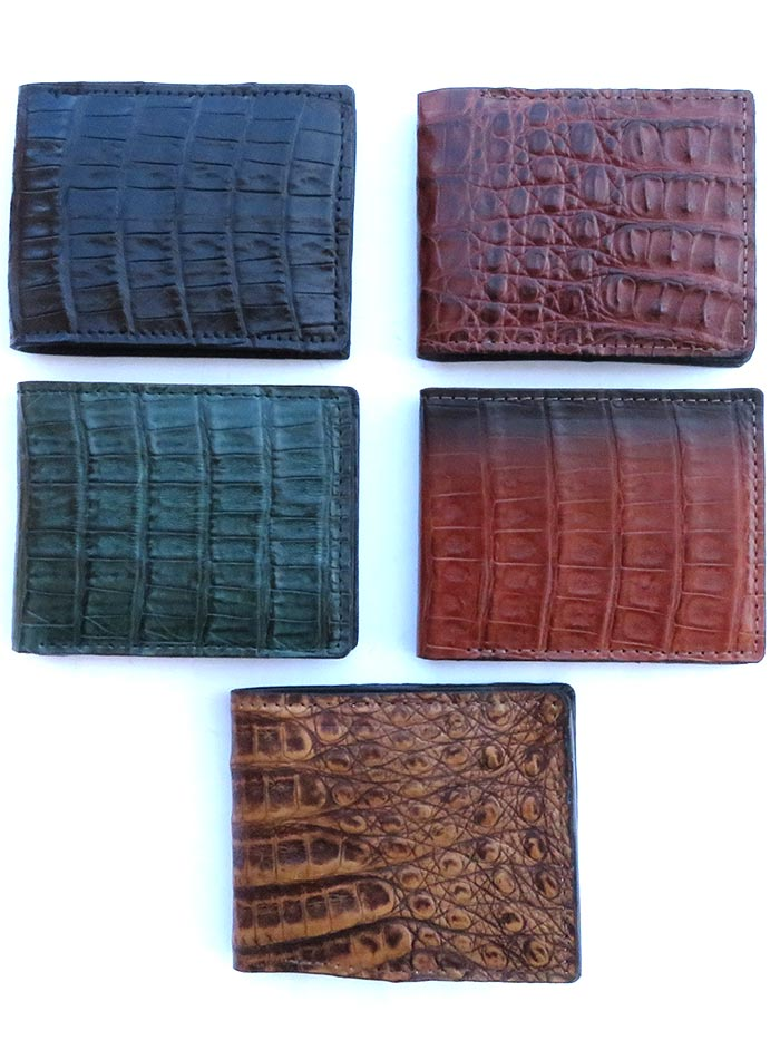 WalletStop 2205 Mens Genuine Caiman Bi-Fold Wallet Natural Genuine Exotic Skin Made in USA