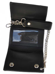 Black Leather Removable Chain Tri-fold Trucker Wallet WELW2 J.C. Western® Wear - J.C. Western® Wear