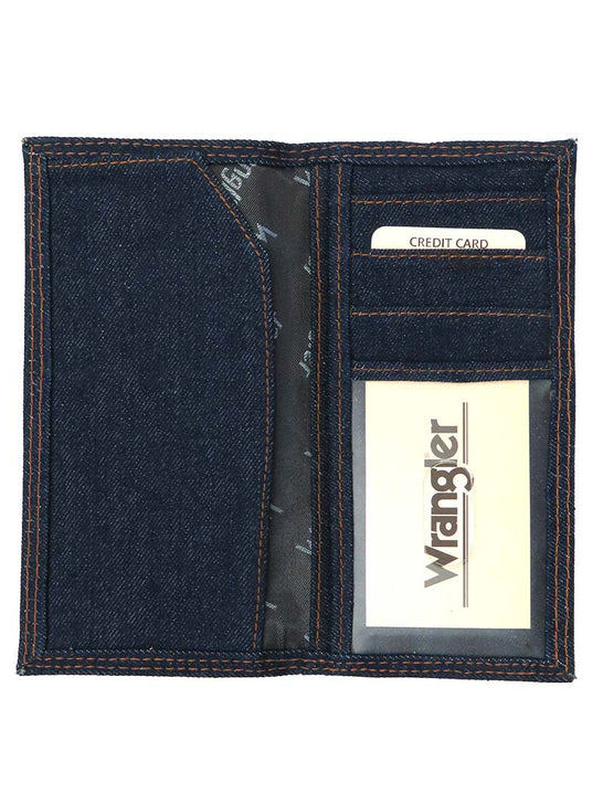 Men's Wrangler Bi Fold Blue Rodeo Denim Checkbook Wallet 8700W