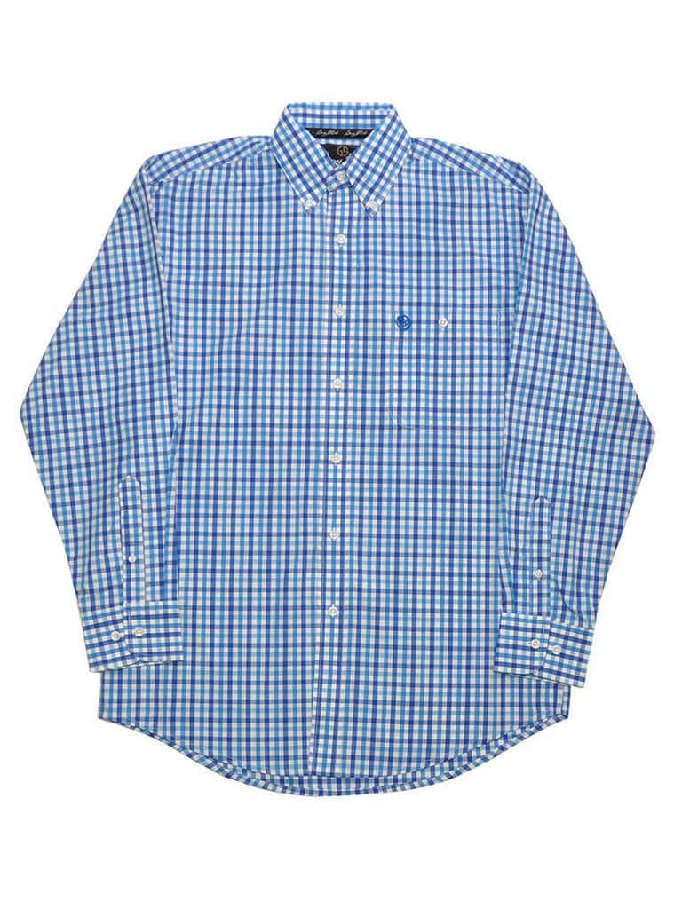 George Strait Wrangler White Blue Button-Up Plaid Shirts MGSB444
