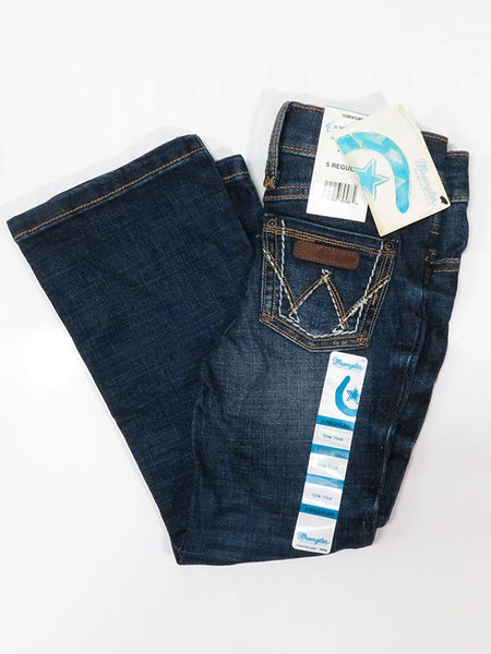 Wrangler Girls Medium Blue Boot Cut Jeans 09MWGMS on Display at JC Western Wear