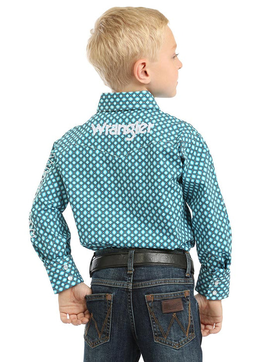 Wrangler Boys Long Sleeve Logo Western Shirt BP1349M Turquoise Back