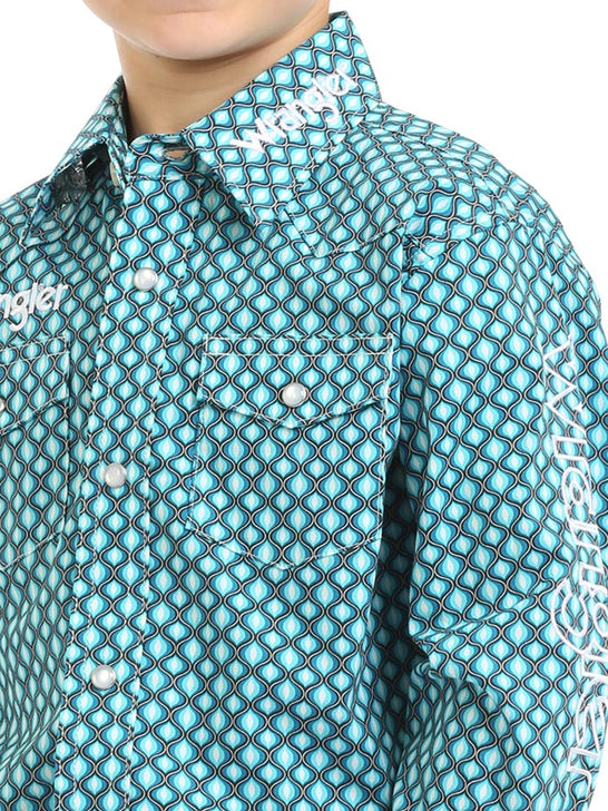 Wrangler Boys Long Sleeve Logo Western Shirt BP1349M Turquoise Close Up