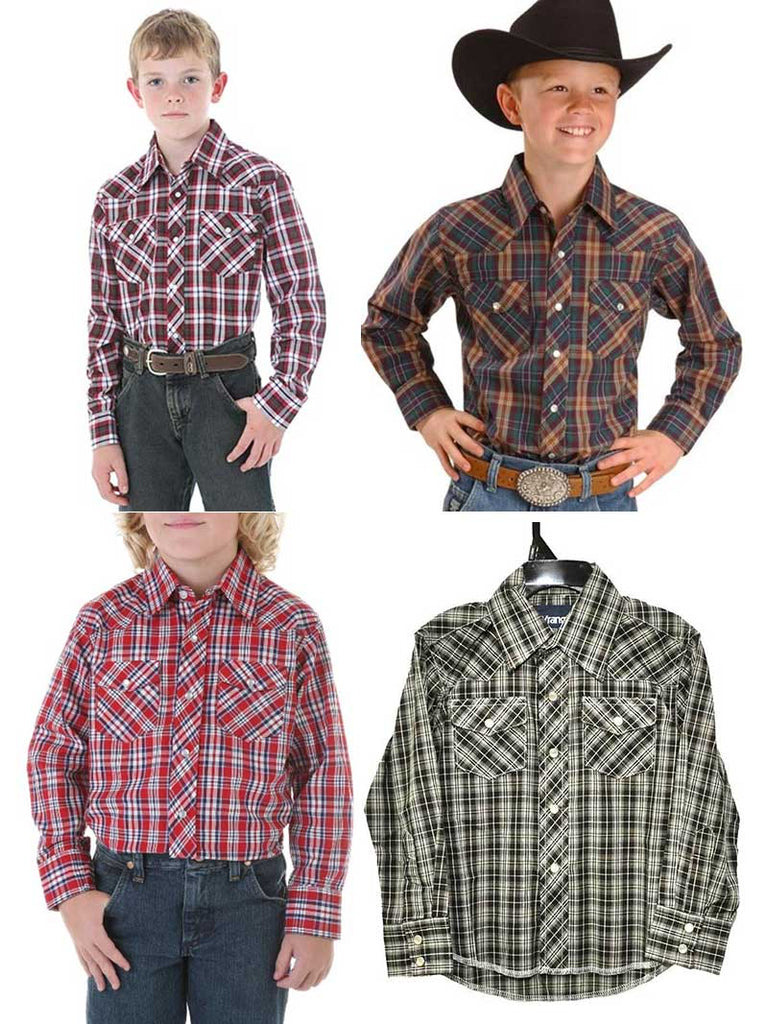Kids Wrangler Assorted Long Sleeve Plaid Western Snap Shirt 201WAAL