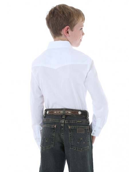 Wrangler 204WHSL Kids Long Sleeve Western Snap Shirt White Wrangler - J.C. Western® Wear