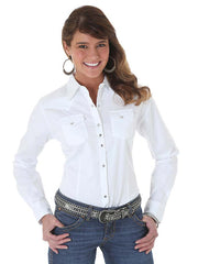 Wrangler Ladies Western White Long Sleeve Solid Shirt LW1001W Wrangler - J.C. Western® Wear
