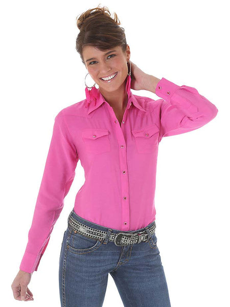 Wrangler Ladies Western Pink Long Sleeve Solid Shirt LW1003K Wrangler - J.C. Western® Wear