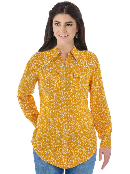 Wrangler LW8036M Ladies Floral Long Sleeve Western Fashion Shirt Mustard Front