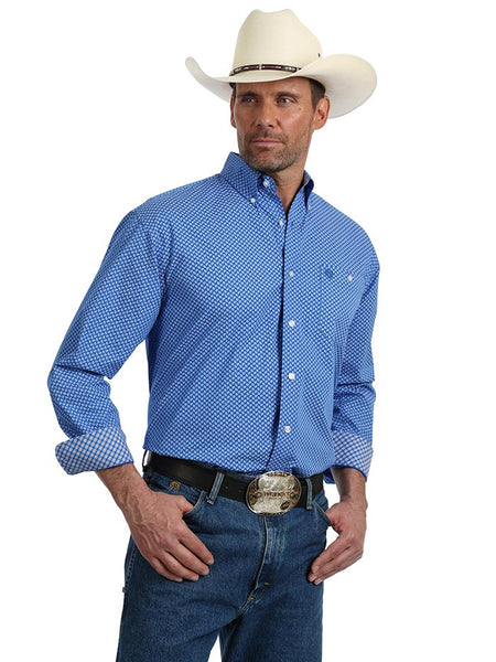 31c7fe9780 Men s George Strait Wrangler Blue White LS Button Down Shirt MGSB624