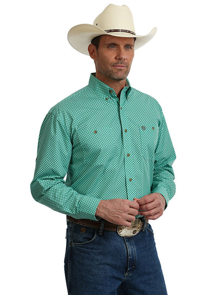 1c0df86cdb George Strait Wrangler Green Grey Long Sleeve Western Shirt MGSG611