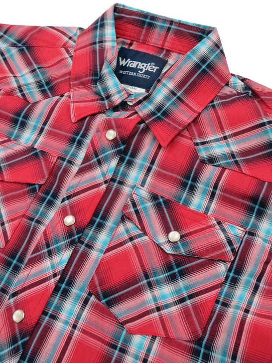 Kids Wrangler Assorted Short Sleeve Plaid Western Snap Shirt 206WAAL Front close up