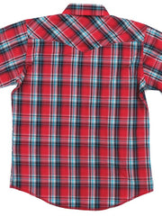 Kids Wrangler Assorted Short Sleeve Plaid Western Snap Shirt 206WAAL Back