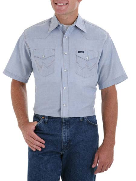 Men's Wrangler Western Short Sleeve Chambray Work Shirt 70131MW Wrangler - J.C. Western® Wear