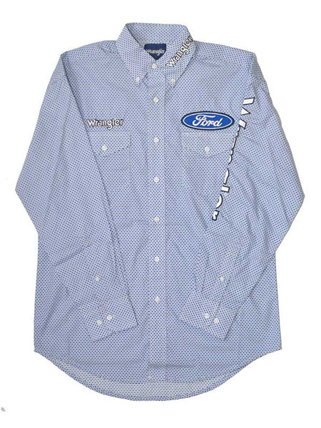 Wrangler Ford Logo White Blue Spread Collar Shirts MP2333M Wrangler - J.C. Western® Wear
