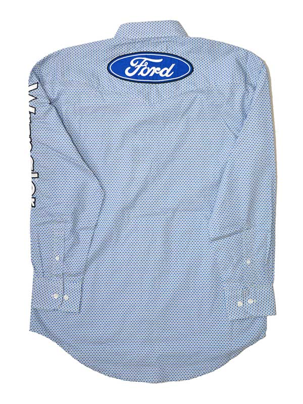 Wrangler Ford Logo White Blue Spread Collar Shirts MP2333M