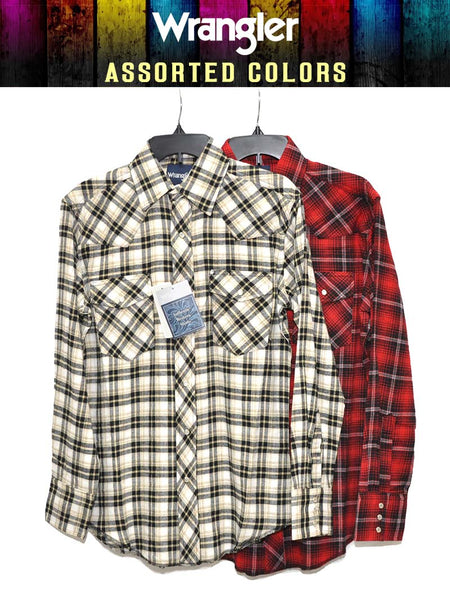 Assorted Wrangler Mens Plaid Long Sleeve Flannel Shirt 75098AA Wrangler - J.C. Western® Wear
