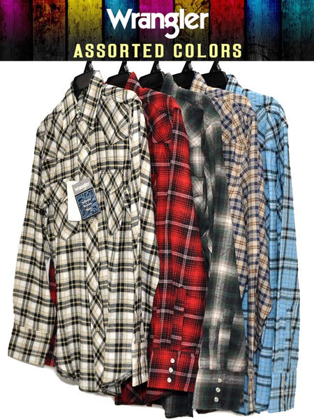 9da29effbb Assorted Wrangler Mens Plaid Long Sleeve Flannel Shirt 75098AA