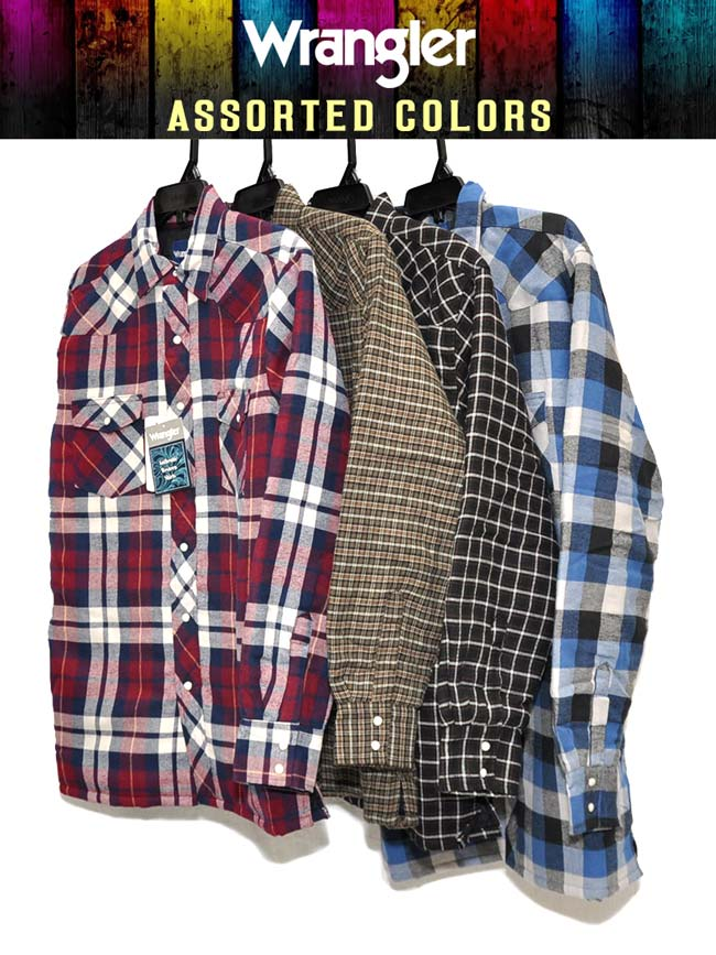 Assorted Wrangler Authentics Mens Long Sleeve Quilted Lining Flannel Shirt 75108AA Wrangler - J.C. Western® Wear