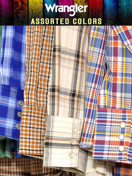 Assorted Wrangler Mens Western Long Sleeve Plaid Shirt 75204PP Wrangler - J.C. Western® Wear