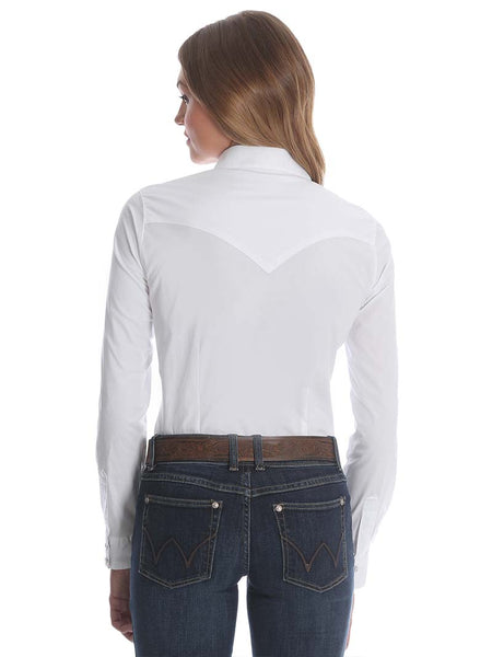 Wrangler Ladies Western White Long Sleeve Solid Shirt LW1001W