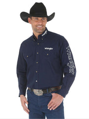 Mens Wrangler Logo Navy Button Down Solid Shirt MP2327N Wrangler - J.C. Western® Wear