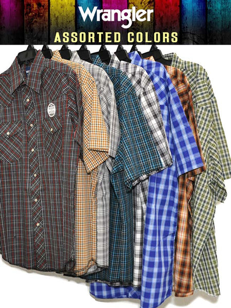 Assorted Wrangler Mens Western Short Sleeve Plaid Shirt 76204PP Wrangler - J.C. Western® Wear