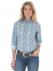 Wrangler Womens George Strait Blue Paisley Long Sleeve Shirt LGS511M