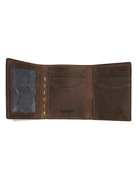 Wrangler Western Stitch Cognac Tri-Fold Leather Wallet 49002