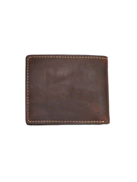 Wrangler Metal Logo Cognac Traveler Bi-Fold Leather Wallet 49004