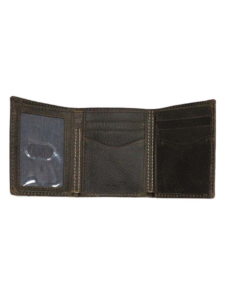 Wrangler Double Stitch Tri-Fold Brown Leather Wallet 49026