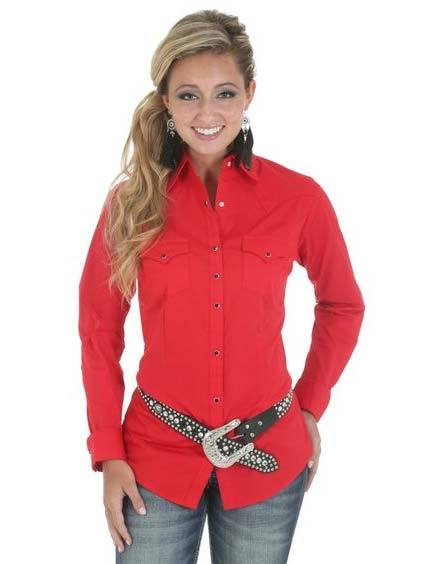 Wrangler Ladies Western Red Long Sleeve Solid Shirt LW1010R