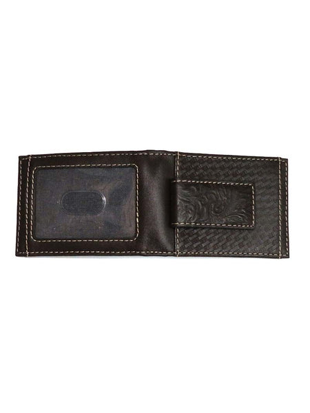 Wrangler Basket Weave Bi-Fold Leather Money Clip Wallet 49010
