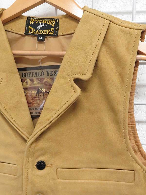 Wyoming Traders Mens Buffalo Leather Vests Tan