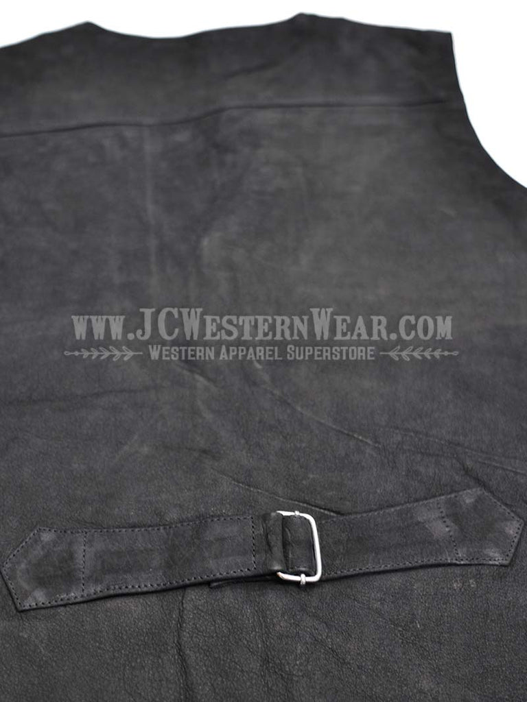 Men's Wyoming Traders Black Buffalo Leather Vest WTBV-BLK Wyoming Traders - J.C. Western® Wear