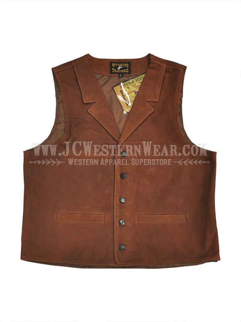 Men's Wyoming Traders Brown Buffalo Leather Vest WTBV-BRN Wyoming Traders - J.C. Western® Wear