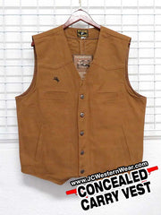 Mens Wyoming Traders Concealed Carry Tan Canvas Vest