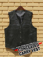 Mens Wyoming Traders Drover Concealed Carry Leather Vest Black and Tan