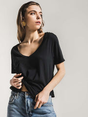 Z Supply Womens The Premium Sleek Jersey Pocket Tee ZT164211 black