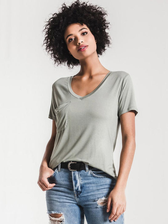 Z Supply Womens The Sleek Jersey Pocket Tee Pale Sage ZT164211 PSA ZT164211-PSA