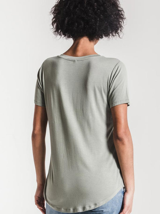 Z Supply Womens The Sleek Jersey Pocket Tee Pale Sage ZT164211 PSA Back