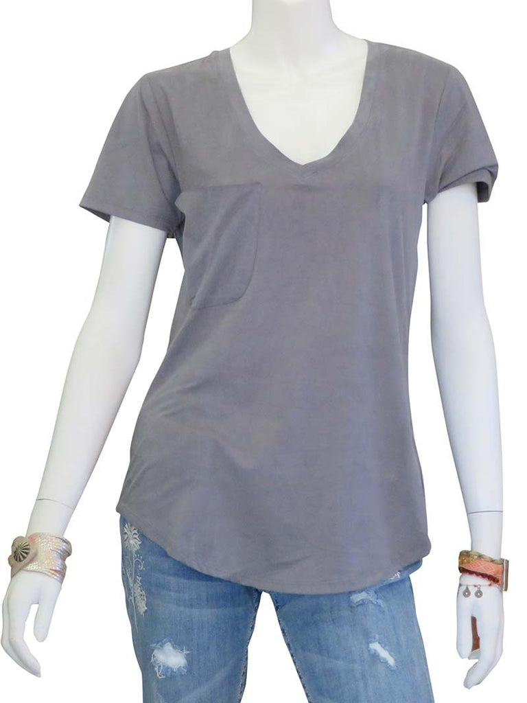 Z Supply Womens The Faux Suede Pocket Tee ZT164218 Grey