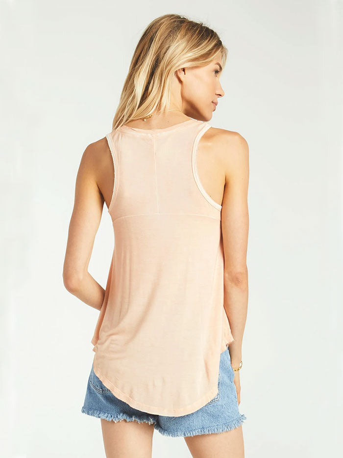Z Supply ZT165101 Womens The Vagabond Essential Tank Top Apricot  with a girl