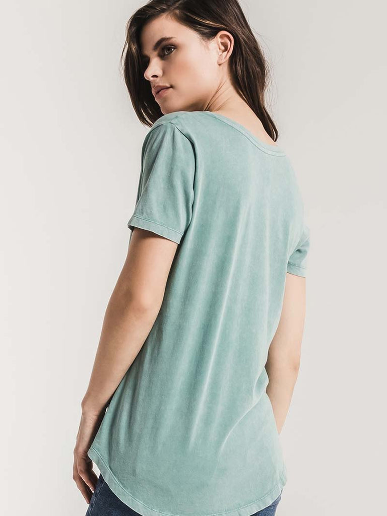 Z Supply Womens The Washed Cotton Pocket Tee ZT181284 Aqua Bay FRONT