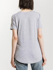 Z Supply Womens The Premium Sleek Jersey Pocket Tee ZT164211 Grey T-Shirt Back