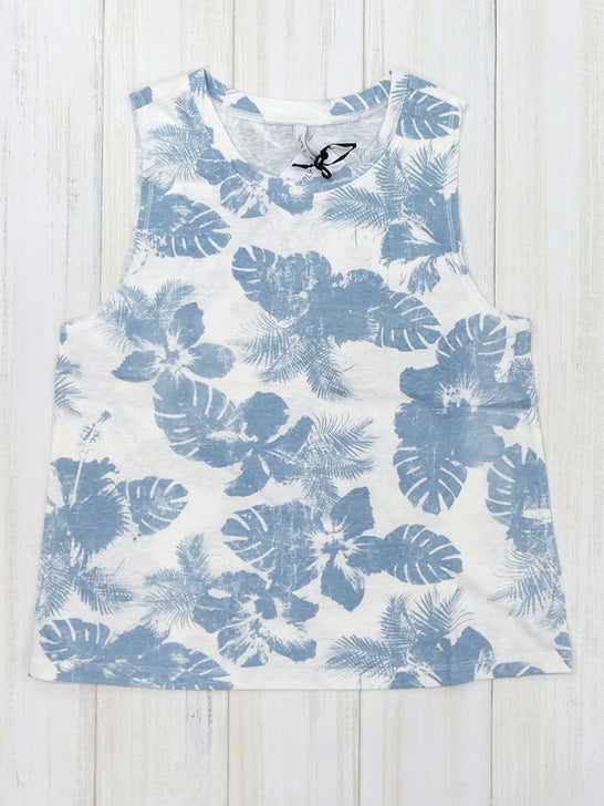 Z Supply ZT202339S Womens Kaia Tropical Print Crew-Neck Tank Top Blue Desert White and Tropical Blue Front