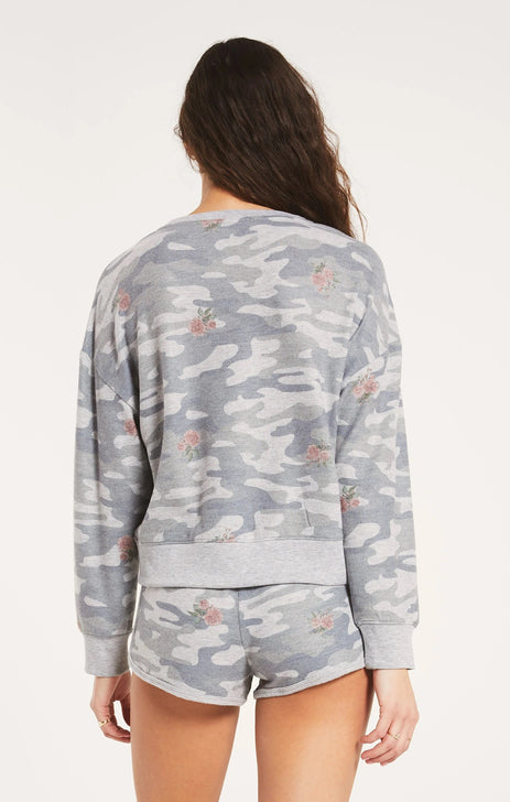 Z Supply ZT203623S Womens Elle Rose Camo Long Sleeve Sweater Back View