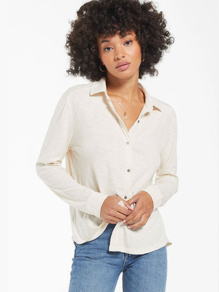 Z Supply ZT211109 Womens Long Sleeve Grayson Slub Shirt Bone FRONT