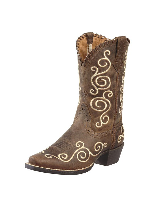 Ariat 10010256 Kid's Shelleen Scrolled Western Boots Distressed Brown